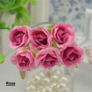 6pcs Artificial Silk Rose Flower Bouquet Home Wedding Party Decor Fake Flowers