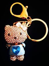 Hello Kitty Keychain Austrian Crystal Charming Christmas Gift Bag Blue Cute 2
