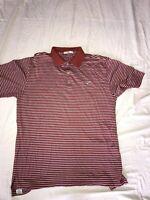 PETER MILLAR Men's S/S Cotton Polo Golf Shirt Red Striped Size Medium