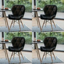 Retro Dining Chairs Vintage Wooden Leg Eiffel Style Lounge Set 4 Chair Not Eames