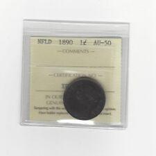 **1890**, ICCS Graded Newfoundland, Large One Cent, **AU-50**