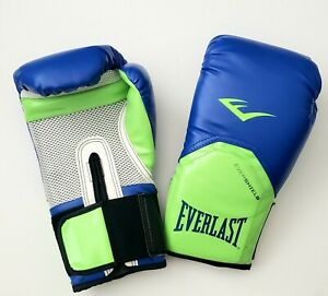 NEW Everlast Pro Style Elite Training Gloves 12 oz blue/green w/ vents grip cord
