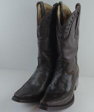 """Classic Western """"BOOTS AFRICAN"""" Mens Brown Spanish Toe Lizard/Leather Size 7.5"""