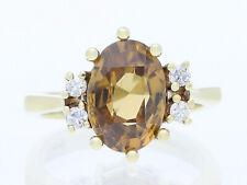 IGI Expertise vintage Ring unbehandelter Zircon Brillanten 585 Gold 14 Karat