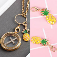1x Pineapple Fruit Enamel Charms Alloy Clasp Pendant Key Ring DIY Jewelry  hi