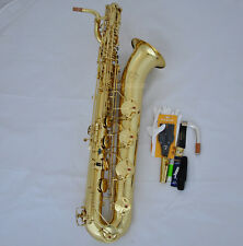 Professional TaiShan Unlacquer Baritone Saxophone (Bare Brass) Sax Abalone Keys