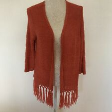Ladies Terracotta Open Long Cardigan By F&F Size 12