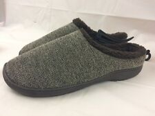 Mens 11 - 12 M Indoor Brown Slippers Soft Plush Lined Slip on Winter House Shoes