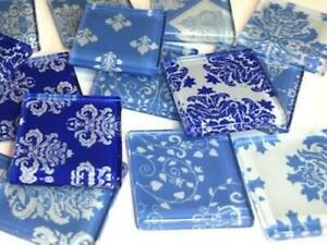 Blue Damask Patterned Glass Tiles 2.5cm - Mosaic Tiles Supplies Art Craft