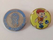 Beautiful Vintage York Figure Skating Club And Gold Tone Soccer Boy Pin Brooch A