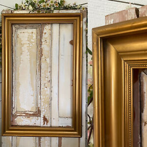 LARGE VERY OLD Picture Gold Painting VICTORIAN Frame Wood GREAT AGED LOOK