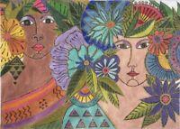 NEEDLEPOINT Handpainted Danji Laurel Burch Blossoming Women 14x10