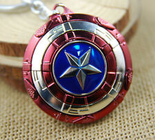 USA Captain America Shield Cosplay Keyring Rotatable Star Zinc Metal Keychain