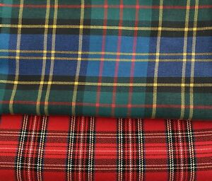2 x Pieces Of Multicoloured Tartan Fabric For Sewing Projects.
