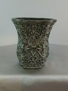"Navona TMB Antique Silver Style Ceramic Filigree Pattern Flower Vase Small 4.5"""