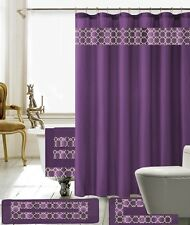 18 Piece Charlton Embroidery Banded Shower Curtain Bath Set (Purple)