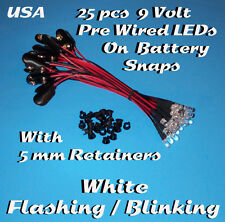 25 PRE WIRED 5MM LEDs 9 VOLT WHITE BLINKING LED ON BATTERY SNAP 9V PREWIRED