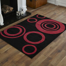 Black Red Pink Small Modern Circle Geometric Design Rug 8mm Cheap 80x150cm Rugs