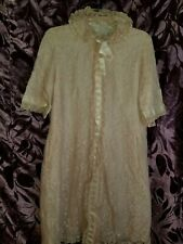 Odette Barsa Vintage Pink Lace Full Length Robe Night Dressing Gown House Coat S
