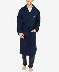 Nautica Men's Regular Fit Shawl-Collar Belted Robe Navy Blue Size L XL NEW $85