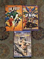 JLA Year One Strength In Numbers TPB Lot & Wonder Woman Eyes Of Gorgon