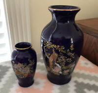 Vintage Japanese Cobalt Blue Porcelain Vases With Golden Peacock & Floral Trim