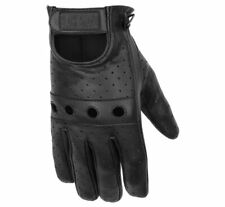Black Brand Men's Bare Knuckle Leather Motorcycle Riding Gloves Vented