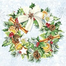 4 Lunch Paper Napkins for Decoupage Craft Vintage Napkin Christmas Wreath