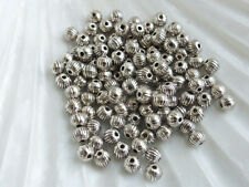 100 x Round Spacer Pumpkin Beads Antique Silver 4mm Beads Findings     (MBX0072)