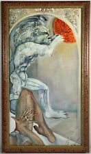 "Listed Artist Mylo Quam (1941-1996) Oil Painting On Canvas ""Leo & The Sun"""