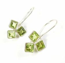 PRINCESS CUT PERIDOT GEMSTONE 925 STERLING SILVER EARRINGS STAMPED 1.1 g