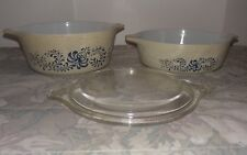 Vtg Pyrex Casserole Dishes & (1) Lid / Homestead Pattern / Lot of 3