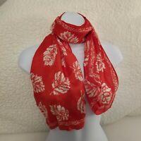Vintage Burmel Signature Oblong Red & White Silk Scarf 12 x 44