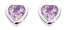 Dew 925 Sterling Silver Birthstone 6mm Heart Stud Earrings - February Amethyst