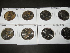 2010 2011 2012 2013  P & D  KENNEDY HALF DOLLARS FROM MINT ROLLS (8 Coins)