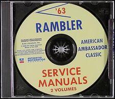 1963 AMC Rambler Tienda Manual CD Classic Ambassador Heavy Servicio Reparación