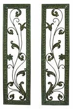 "Set of 2, Decorative Wall Plaques, Rustic Green Color- 51""H x 14""W"