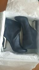 Christian Dior NIB $1140 calfskin leather navy blue ankle boots EU 38 US 8