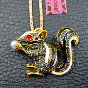 New Charm Betsey Johnson Enamel Pearl Squirrel Green Crystal Sweater Necklace