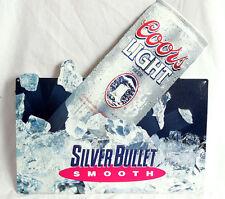 Vintage 1973 Coors Light Silver Bullet Smooth 3D Metal Beer Sign 18 x 18