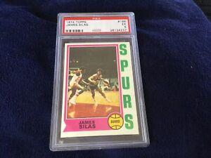 1974 TOPPS #186 JAMES SILAS RC SPURS PSA 5
