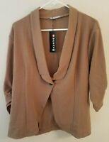 Beyove Women's Plus Casual Work Office Open Front Blazer Jacket, New Khaki, XL