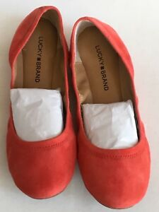 Lucky Brand Emmie Auora Red Kid Suede Flats, Size 9.5,  BRAND NEW