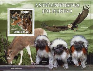 Guinea-Bissau Wild Animals Stamps 2010 MNH Tigers Eagles Monkeys Fauna 1v S/S