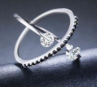 925 Sterling Silber Damen edlen Schmuck Schwarz Spinell Ring women silver rings.