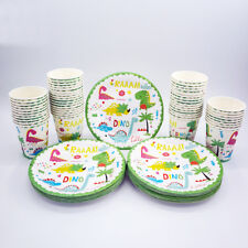24pcs Dinosaur Children Birthday Party Paper Plate Cup Tableware Decorations