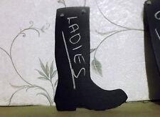 LADIES BOOT SHAPE chalk board blackboard Welly wellie birthday Christmas sign