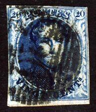 Belgium 1851 King Leopold 20 c. Blue Imperforate watermark LL no Frame SG 7 VFU