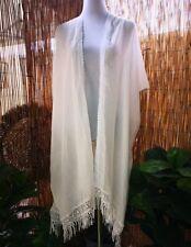 Loose Fitting Embroidered Lace White Kimono Jacket OSFA 12-14-16-18-20