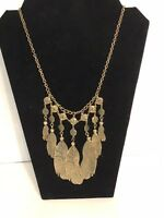 """Feather Necklace Gold Tone Long Boho Tribal Statement Adjustable Costume 20"""""""
